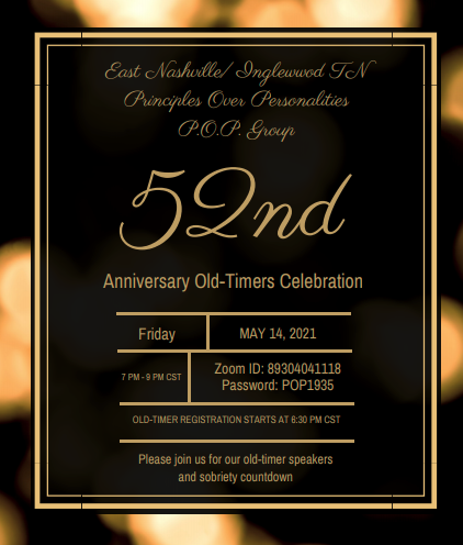 POP/Principles Over Personalities Group 52nd Anniversary